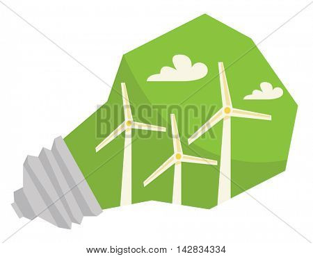 Light bulb and wind turbine inside vector flat design illustration isolated on white background.