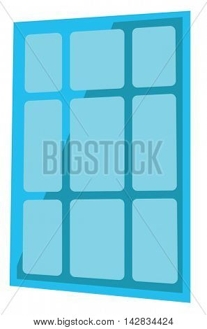 Blue solar panel vector flat design illustration isolated on white background.