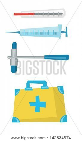 Various medical equipment - thermometer, syringe, first aid kit, vector flat design illustration isolated on white background.