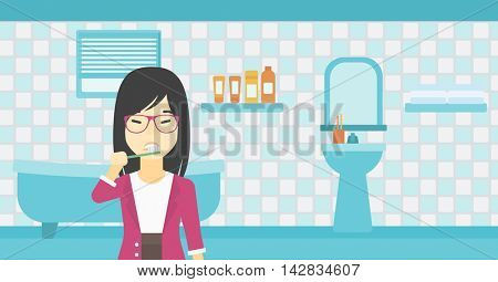 An asian young smiling woman brushing her teeth with a toothbrush in bathroom. Smiling woman holding toothbrush. Vector flat design illustration. Horizontal layout.