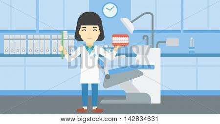 An asian young female dentist holding dental jaw model and a toothbrush in doctor office. Female dentist showing dental jaw model and toothbrush. Vector flat design illustration. Horizontal layout.