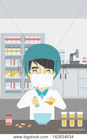 An asian young pharmacist using mortar and pestle for preparing medicine in the laboratory. Pharmacist mixing medicine at the hospital pharmacy. Vector flat design illustration. Vertical layout.
