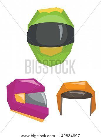 Motorbike classic helmets vector flat design illustration isolated on white background.
