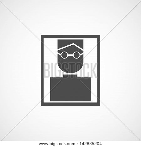 Vector flat man in glasses icon. Isolated black portret icon for logo web site design app UI. Flat man illustration for posters cards book cover flyers banner web game designs.