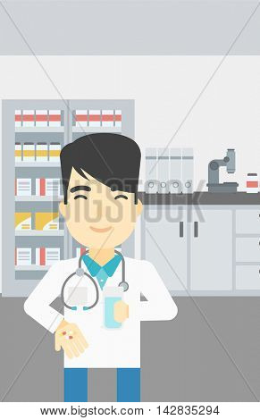 Asian young pharmacist in medical gown holding in hands a glass of water and pills. Pharmacist standing in the laboratory. Pharmacist giving pills. Vector flat design illustration. Vertical layout.