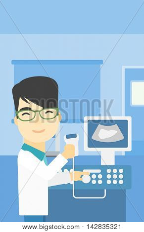 An asian young male doctor with ultrasound scanner in the hands. Male doctor working on modern ultrasound equipment at medical office. Vector flat design illustration. Vertical layout.