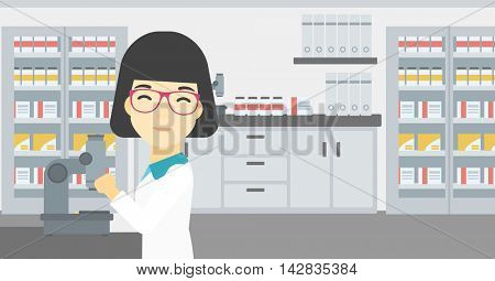 An asian female laboratory assistant working with microscope at the laboratory. Young scientist using a microscope in a laboratory. Vector flat design illustration. Horizontal layout.