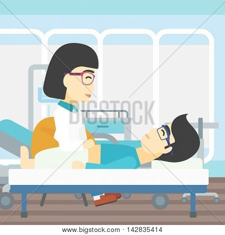 An asian female doctor touching abdomen of patient. Man on reception at doctor. Vector flat design illustration. Square layout.