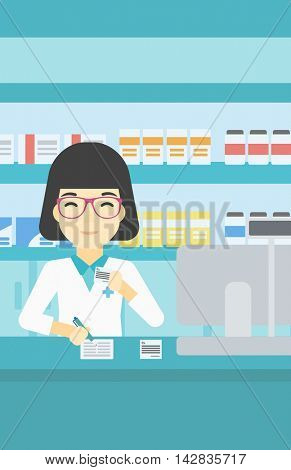 An asian young female pharmacist writing on clipboard and holding prescription in hand. Pharmacist in medical gown standing at pharmacy counter. Vector flat design illustration. Vertical layout.
