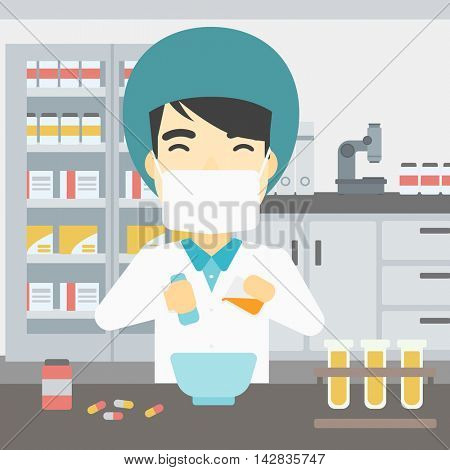 An asian young pharmacist using mortar and pestle for preparing medicine in the laboratory. Pharmacist mixing medicine at the hospital pharmacy. Vector flat design illustration. Square layout.