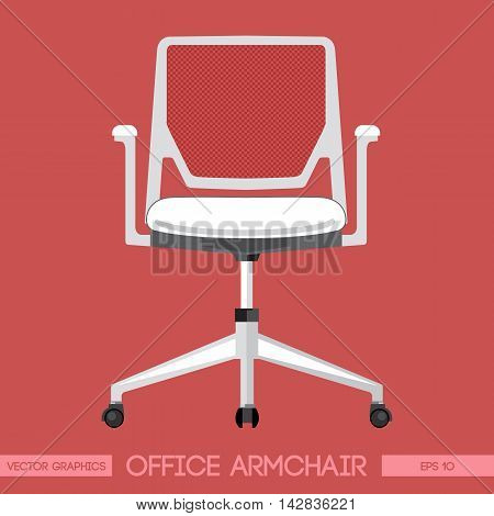 White modern office armchair over red background. Digital vector image