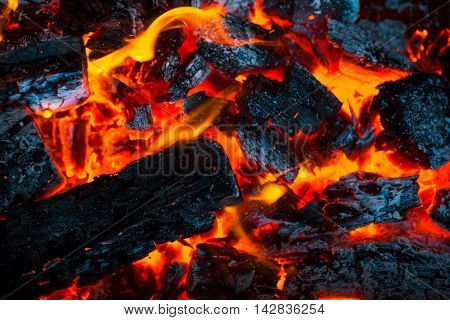 Beautiful Burning Fire Flame Background And Coals