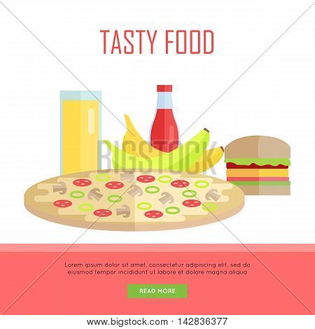 Tasty food concept web banner. Vector in flat design. Illustration of various food and drinks juice, pizza, banana, hamburger, ketchup on white background for cafe, stores, restaurant web pages design.