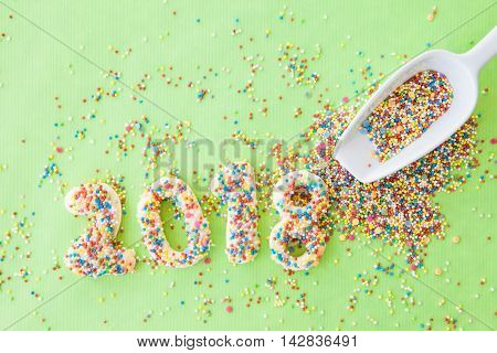 Cookies with colorful sugar sprinkles for the new year 2018