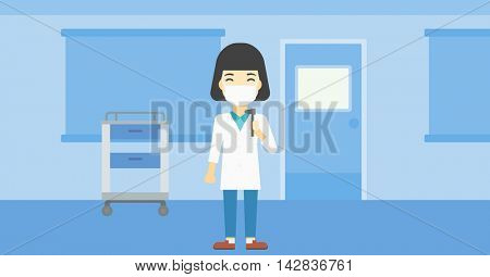 An asian female ear nose throat doctor standing in the medical office. Doctor with tools used for examination of ear, nose, throat. Vector flat design illustration. Horizontal layout.
