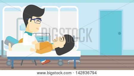 An asian doctor touching abdomen of female patient. Woman on reception at doctor. Vector flat design illustration. Horizontal layout.
