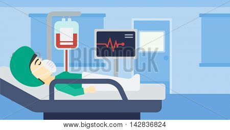 Asian woman lying in bed at hospital ward. Patient in oxygen mask lying in hospital ward with heart rate monitor and equipment for blood transfusion. Vector flat design illustration. Horizontal layout