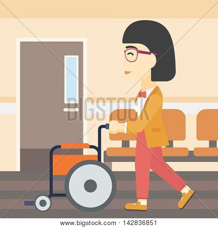 An asian young woman pushing empty wheelchair on the background of hospital corridor. Vector flat design illustration. Square layout.
