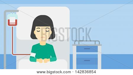 An asian woman lying in bed at hospital ward with equipment for blood transfusion. Woman during medical procedure with drop counter at medical room. Vector flat design illustration. Horizontal layout.