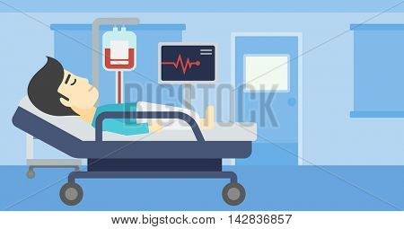 An asian man lying in bed at hospital ward. Patient with heart rate monitor and equipment for blood transfusion in medical room. Vector flat design illustration. Horizontal layout.