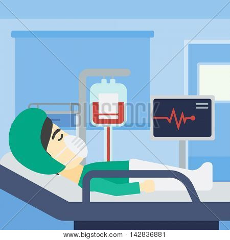An asian man lying in bed at hospital ward. Patient in oxygen mask lying in hospital ward with heart rate monitor and equipment for blood transfusion. Vector flat design illustration. Square layout.
