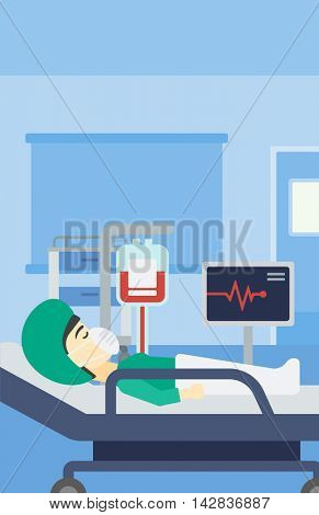 Asian woman lying in bed at hospital ward. Patient in oxygen mask lying in hospital ward with heart rate monitor and equipment for blood transfusion. Vector flat design illustration. Vertical layout.