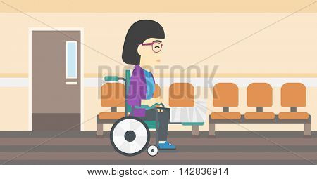 An asian injured woman with leg in plaster. Young woman with broken leg sitting in wheelchair. Woman with fractured leg in the hospital corridor. Vector flat design illustration. Horizontal layout.