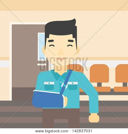 An injured asian man with broken right arm in brace standing in the hospital corridor. Smiling man wearing an arm brace. Vector flat design illustration. Square layout.