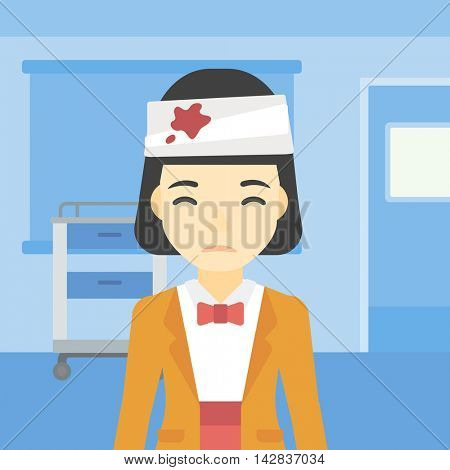 An asian young woman with bandages over her head. Sad woman with a bandaged head in the medical office. Young wounded woman in the hospital. Vector flat design illustration. Square layout.