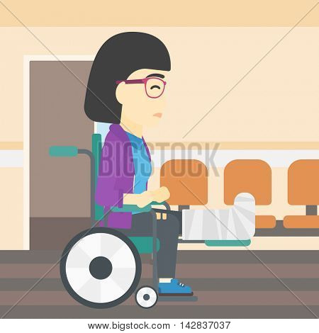 An asian injured woman with leg in plaster. Young woman with broken leg sitting in wheelchair. Woman with fractured leg in the hospital corridor. Vector flat design illustration. Square layout.