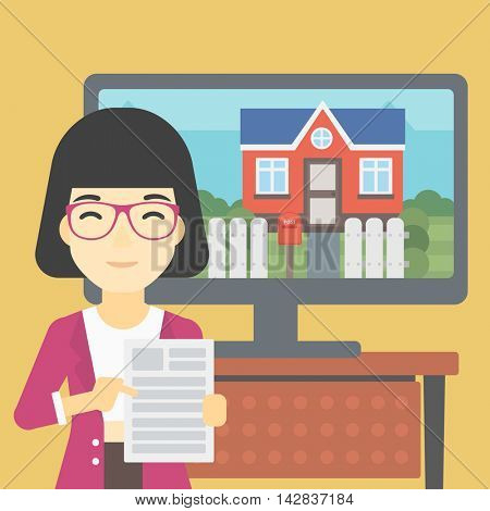 An asian woman standing in front of tv screen with house photo on it and pointing at a real estate contract. Concept of signing of real estate contract. Vector flat design illustration. Square layout.
