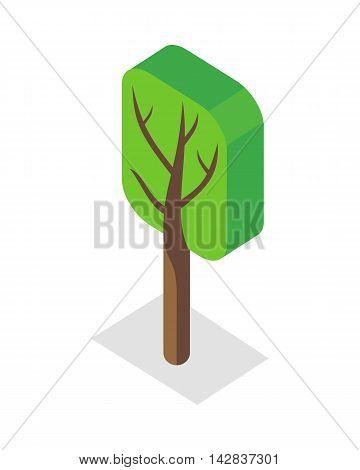 Green tree icon. Isometric green tree with shadow. Brown wood with green crown. City isometric object in flat. Isolated vector illustration on white background.