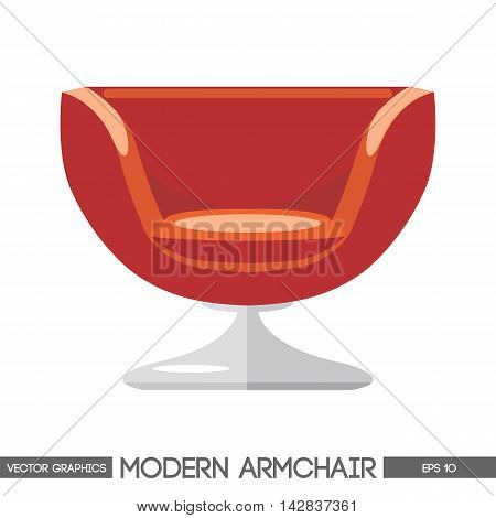Red modern armchair over white background. Digital vector image