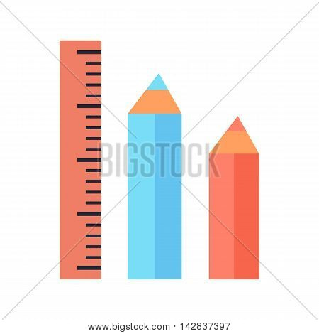 Ruler and two pencils icons isolated on white. Stationery blue and red pencils. Editable items in flat style for your web design. Part of series of accessories for work in office. Vector illustration