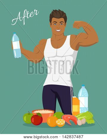 Sportive man after diet. Healthy balanced nutrition, consumption of organic food. Fitness and sport, right way of life. Part of series of promotion healthy diet and good fit. Vector illustration
