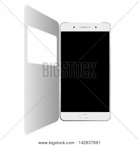 White smartphone in case with window, isolated on white