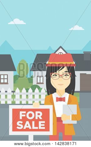 An asian young female real estate agent offering the house. Female broker with placard for sale and documents in hands standing in front of the house. Vector flat design illustration. Vertical layout.