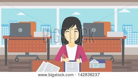 An asian female real estate agent signing a contract. Real estate agent sitting at workplace in office with a house model on the table. Vector flat design illustration. Horizontal layout.