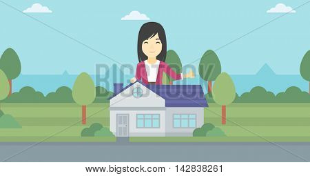 An asian young woman standing behind the house and showing thumb up. Female real estate agent offering the house. Young woman giving thumb up. Vector flat design illustration. Horizontal layout.
