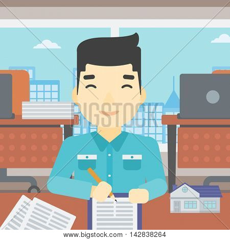 An asian male real estate agent signing a contract. Young real estate agent sitting at workplace in office with a house model on the table. Vector flat design illustration. Square layout.