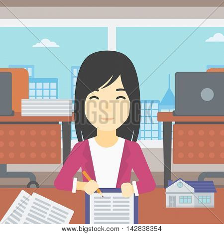 An asian female real estate agent signing a contract. Real estate agent sitting at workplace in office with a house model on the table. Vector flat design illustration. Square layout.