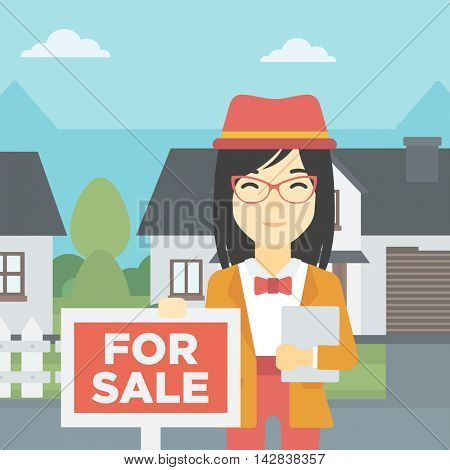An asian young female real estate agent offering the house. Female broker with placard for sale and documents in hands standing in front of the house. Vector flat design illustration. Square layout.