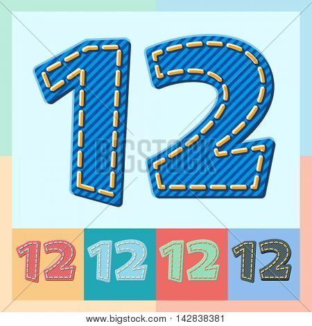 Vector jeans alphabet. Optional colorful graphic styles. Numbers 1 2