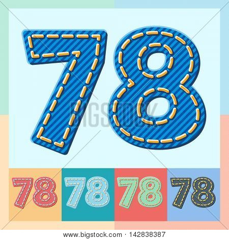 Vector jeans alphabet. Optional colorful graphic styles. Numbers 7 8