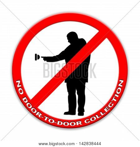 Do not ring doorbell sign door-to-door charity collectors  isolated on white English