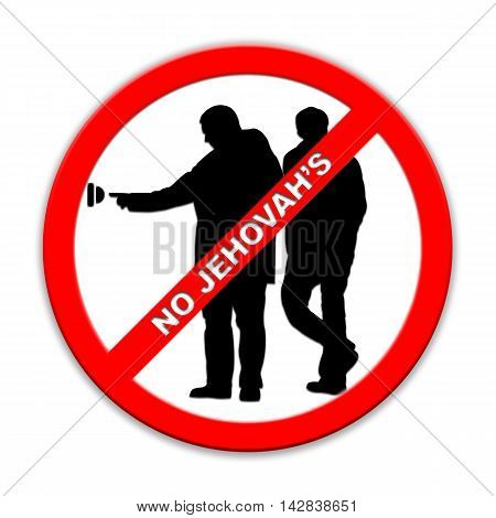Do not ring doorbell sign Jehovah's two persons isolated on white English