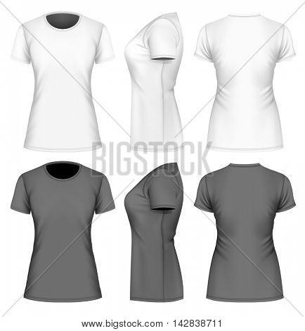 Women's  short sleeve  t-shirt. Black and white variants. Fully editable handmade mesh. Vector illustration.