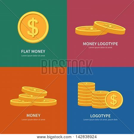 Set flat vector pile of coins logos with colorful background and space for text. Golden Coins stack. Business concept