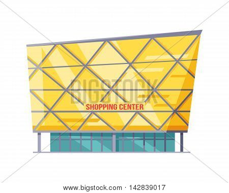 Shopping mall web page template. Flat design. Commercial building concept illustration for web design, banners. Shop, shopping center, mall, supermarket, business center on township background.