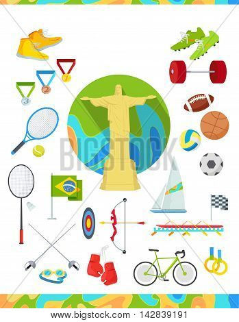 Set of icons devoted to summer sport games in Brazil. Gold medal event. Worldwide sport competition in Latin America. Brazilian championship. Rio de Janeiro. Sport equipment and flag. Vector